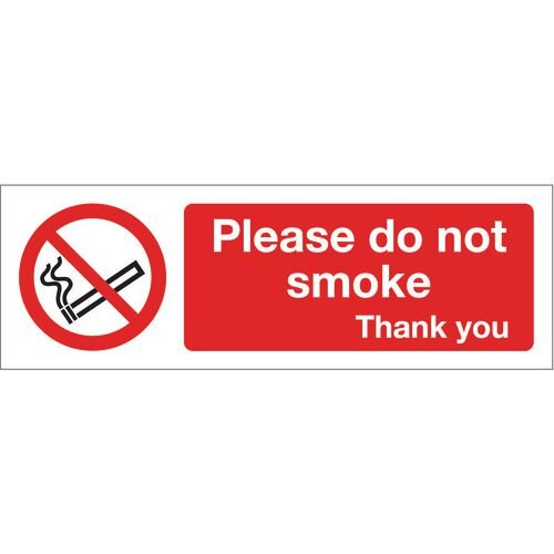 Sign Please Do Not Smoke 300x100 Rigid Plastic