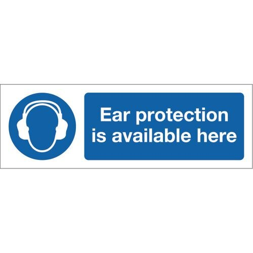 Sign Ear Protection Is Avail 600x200 Rigid Plastic