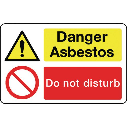 Sign Danger Asbestos 600X200 Rigid Plastic Asbestos Acm'S - Danger Asbestos Do Not Disturb