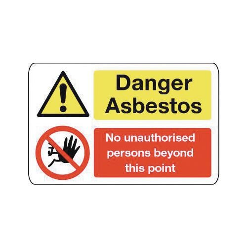 Sign Danger Asbestos 600X200 Rigid Plastic Asbestos Acm'S - Danger Asbestos No Unauthorised Persons Beyond This Point