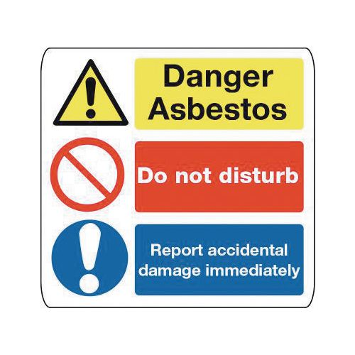 Sign Danger Asbestos 500X500 Rigid Plastic Danger Asbestos Do Not Disturb Report Accidental Damage Immediately