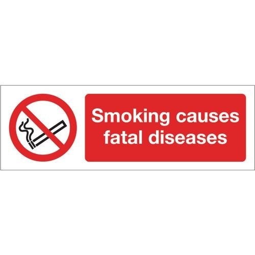 Sign Smoking Causes Fatal 300x100 Rigid Plastic