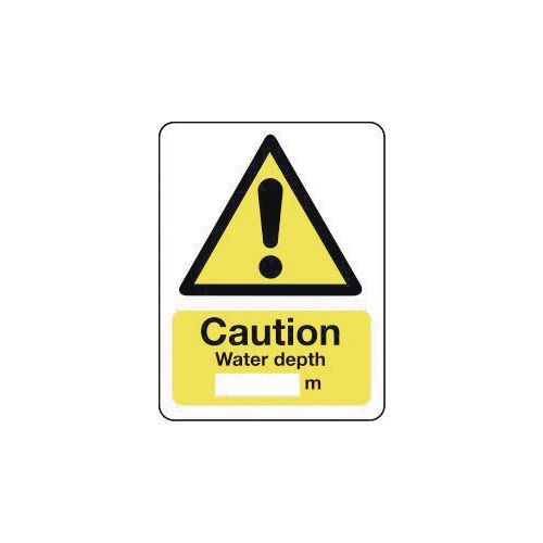 Sign Caution Water Depth 600X200 Rigid Plastic