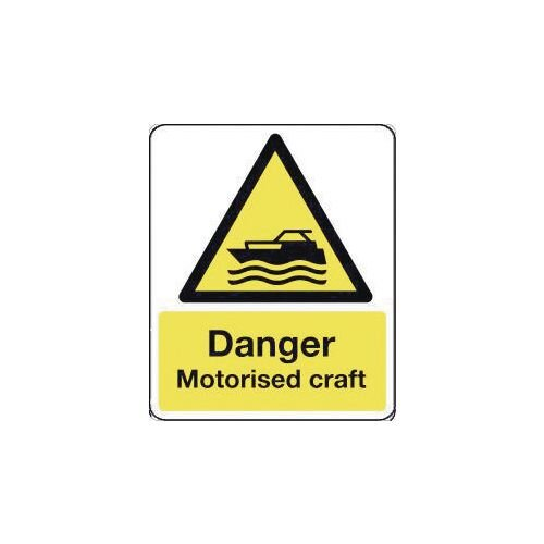 Sign Danger Motorised Craft 250X300 Rigid Plastic