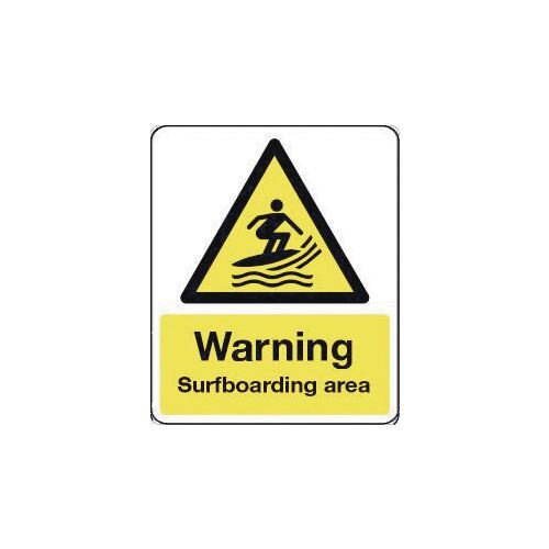 Sign Warning Surfboarding Area 600X200 Rigid Plastic