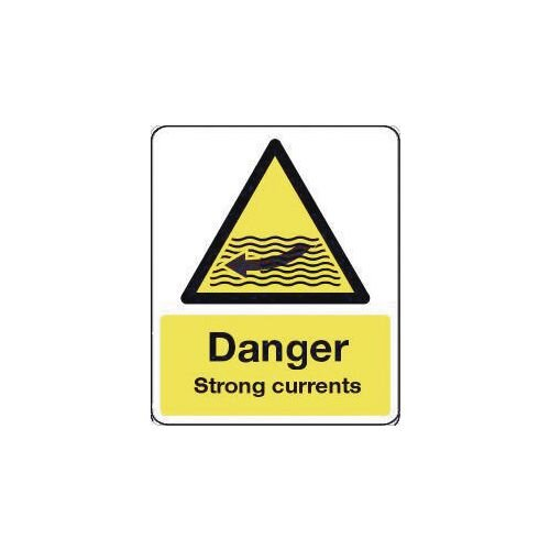 Sign Danger Strong Currents 300X100 Rigid Plastic