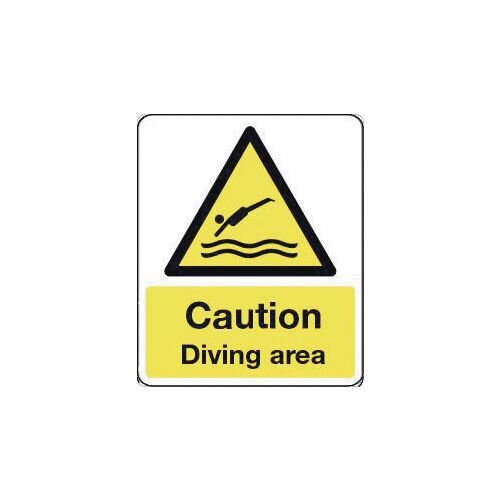 Sign Caution Diving Area 300X100 Rigid Plastic