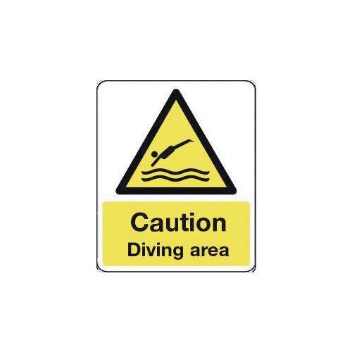 Sign Caution Diving Area 300X100 Rigid Plastic