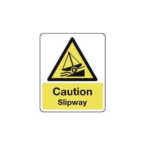 Sign Caution Slipway 300X100 Rigid Plastic