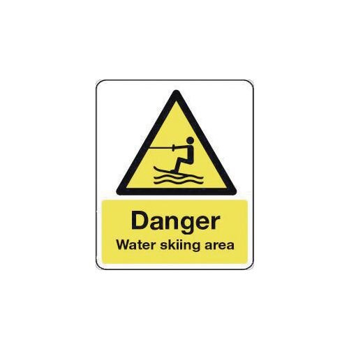 Sign Danger Water Skiing Area 600X450 Rigid Plastic