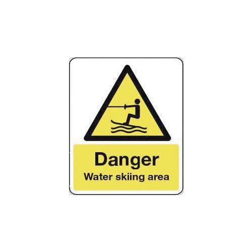 Sign Danger Water Skiing Area 600X450 Rigid Plastic