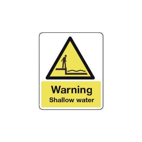 Sign Warning Shallow Water 600X200 Rigid Plastic