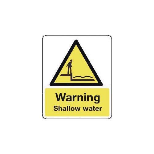 Sign Warning Shallow Water 600X200 Rigid Plastic
