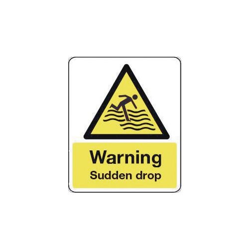Sign Warning Sudden Drop 600X200 Rigid Plastic