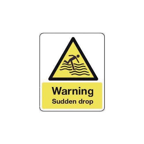 Sign Warning Sudden Drop 600X200 Rigid Plastic