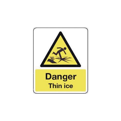 Sign Danger Thin Ice 300X100 Rigid Plastic