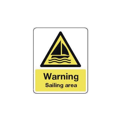 Sign Warning Sailing Area 300X100 Rigid Plastic