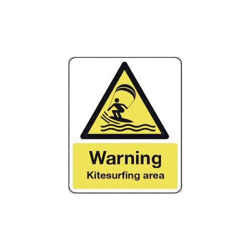 Sign Warning Kitesurfing Area 600X450 Rigid Plastic