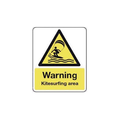 Sign Warning Kitesurfing Area 600X450 Rigid Plastic