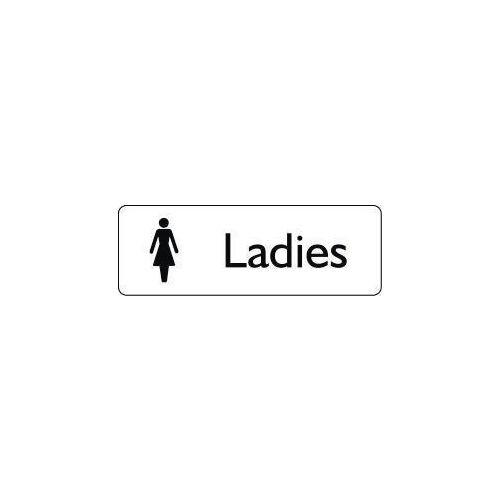 Sign Ladies 300X100 Rigid Plastic Black On White