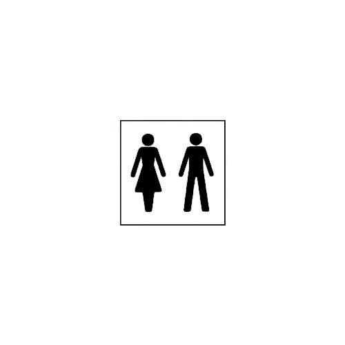 Rigid PVC Plastic Information Sign Square Ladies And Gentlemen Pictorial 150x150mm Black And White Ref 2CJ9FF