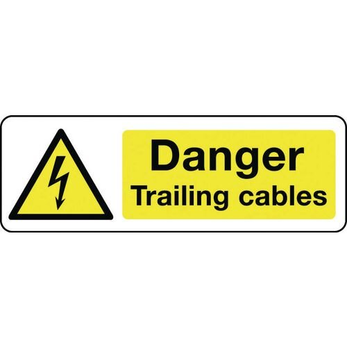 Sign Danger Trailing Cables Rigid Plastic 300x100