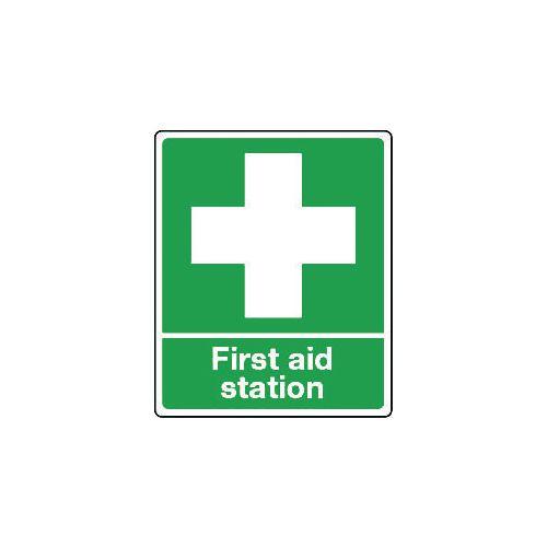 Sign First Aid Station Rigid Plastic 150x200