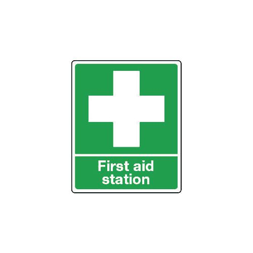 Sign First Aid Station Rigid Plastic 250x300