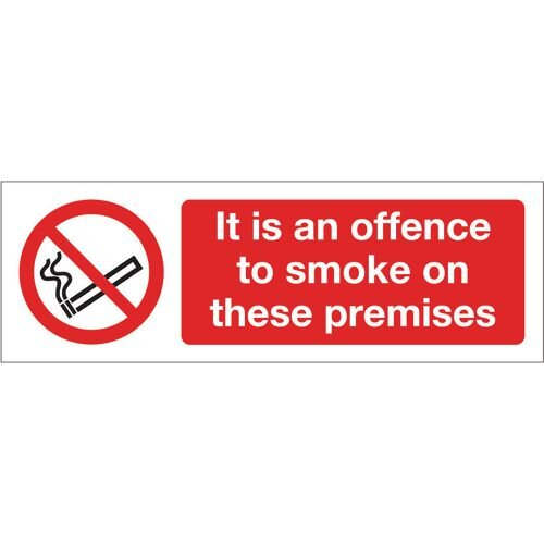Sign It Is An Offence To Smoke Rigid Plastic 300x100