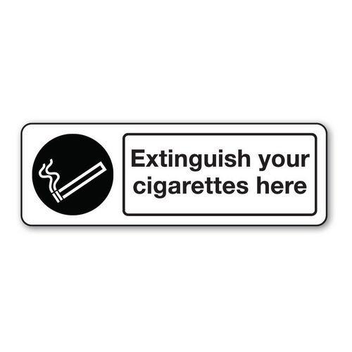 Sign Extinguish Your Cigarettes Rigid Plastic 600x200