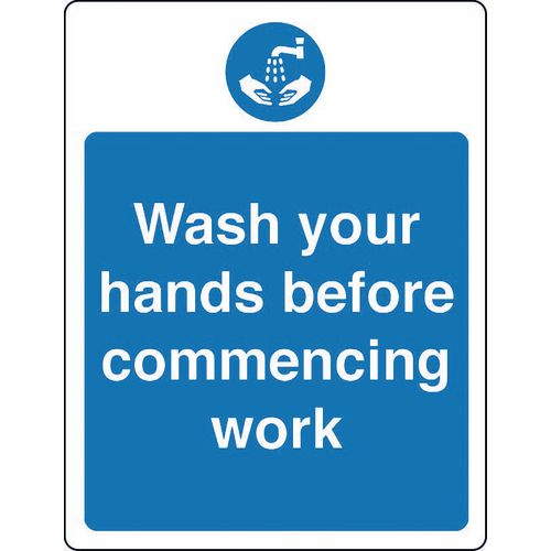 Sign Wash Your Hands Before Rigid Plastic 300x100