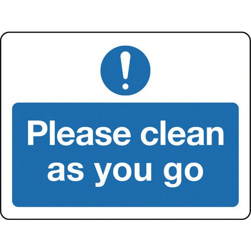 Sign Please Clean As You Go Rigid Plastic 300x100