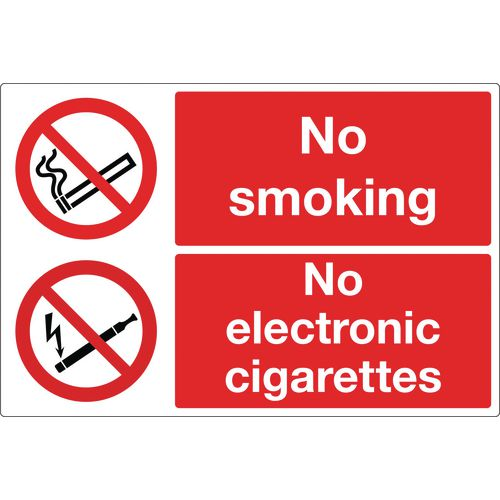 No Smoking No Electronic Cigarettes Rigid Plastic 300x200 mm