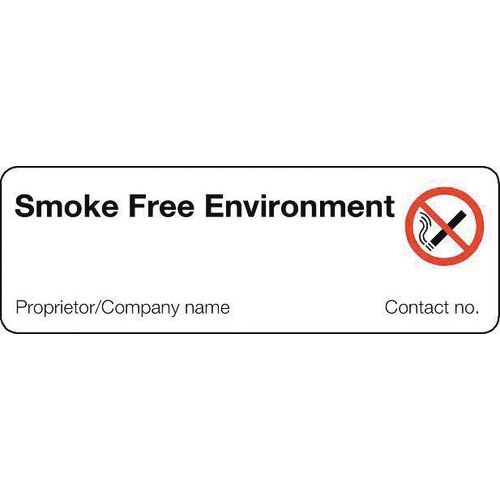 Sign Smoke Free Environment 300X100 Rigid Plastic