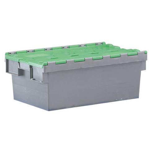 Container Attached Lid 54 Ltr Green Lid Grey Body