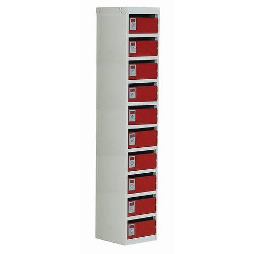 Locker Post Box Red Doors 100 Series Floor Mount 10 Box