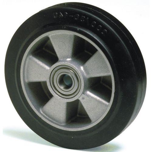 Wheel Rubber Tyred 160mm Dia. Aluminium Centre 300Kg Load Capacity