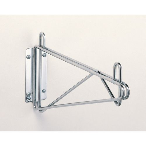 Fixed Single Chrome Wall Mounted Bracket For 356mm Deep Metro Wire Shelves