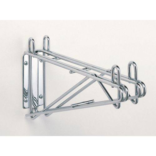 Fixed Double Chrome Wall Mounted Bracket For 457mm Deep Metro Wire Shelves