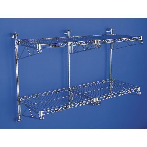 Adjustable Double Chrome Wall Mounted Bracket For 457mm Deep Metro Wire Shelves