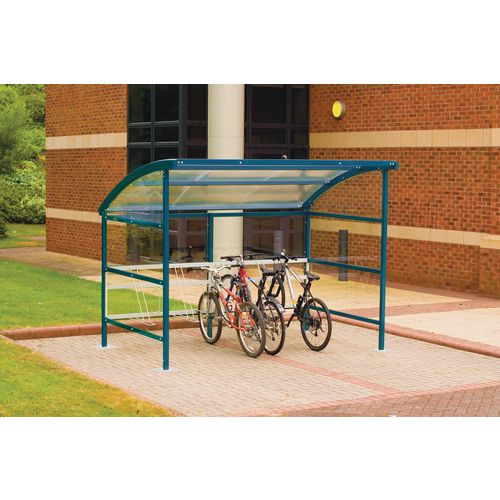 Premier Cycle Shelter And Cycle Rack - Standard Shelter - Plastic Roof And Sides Blue