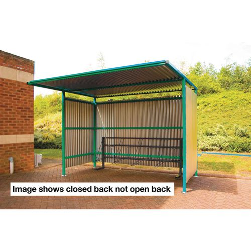 Shelter Open Back W:3000mm D:2500mm Galv. Sides/Green