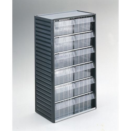 Cabinet Visible Storage Grey 12 Drawers 175x138x81 mm