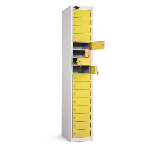 Locker 16 Door White Body Yellow Door