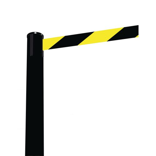 Barrier Fully Retractable Adv. Black Post &Black/Yellow Belt