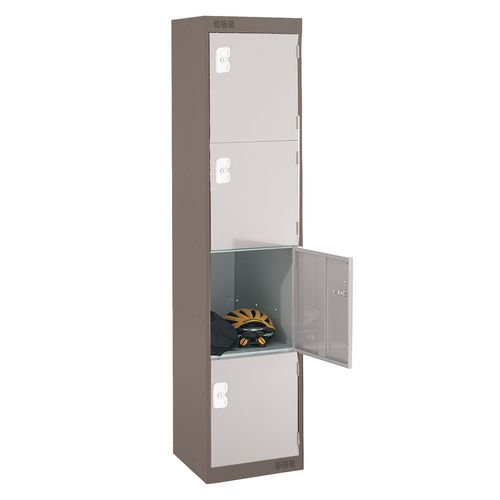 Coloured Door Locker Standard Top 4 Door Dark Grey Body &Light Grey Doors 300mm Deep