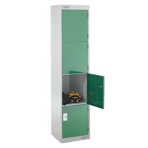 Coloured Door Locker Standard Top 4 Door Light Grey Body &Green Doors 300mm Deep