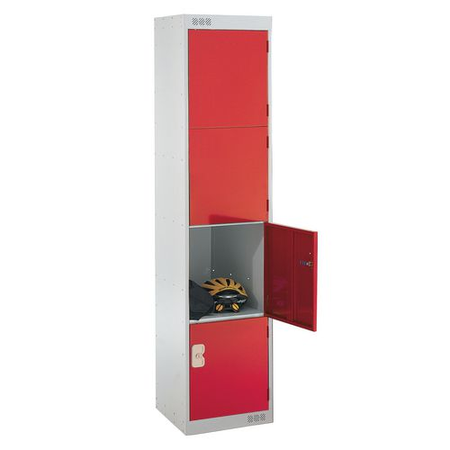 Coloured Door Locker Standard Top 4 Door Light Grey Body &Red Doors 300mm Deep