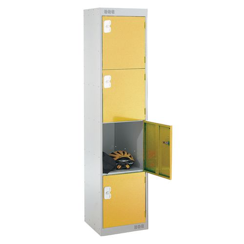 Coloured Door Locker Standard Top 4 Door Light Grey Body &Yellow Doors 300mm Deep