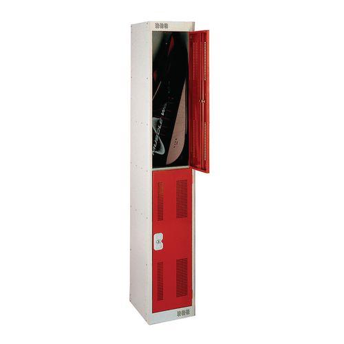 2 Door Perforated Locker 1800Hx300Wx300Dmm Cam Lock Door Colour Red